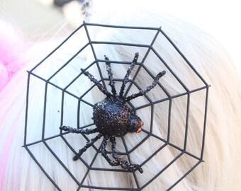 Creepy Cute Black Glitter Spider Web Hair Clip
