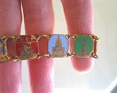 French Vintage bracelet, Enameled Souvenir Bracelet Medals Panels Paris, epsteam