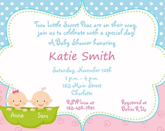 Twins baby shower - Pea in a pod Baby shower invitation -  sweet pea pink and green and blue baby shower invitation