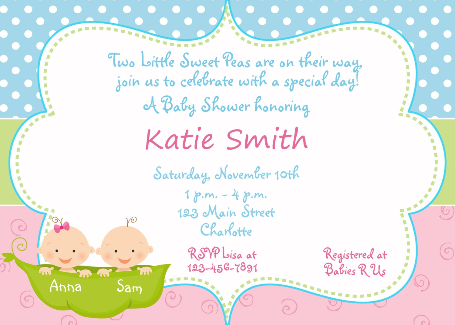 Pea In The Pod Baby Shower Invitations is luxury invitations sample