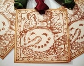 Snowman Christmas Gift Tags Vintage Style Rustic Holiday