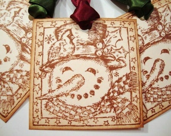 Snowman Christmas Gift Tags Vintage Style Winter Rustic Holiday