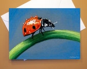 Art Greeting Card  - Created from Original ACEOs for Charity - Blank Notecard - 4x6 - Ladybug dew drops - Day 179