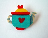 wooden brooch colorful teapot yellow red and turquoise. Hand made in Italy