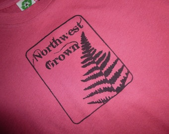 Kid's Northwest Grown with Fern Unisex Organic crew Screened Tee size 4T or 3-6 months