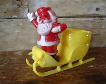 Vintage Santa and Sleigh Yellow Sled Plastic