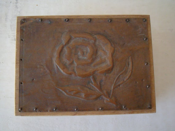 Vintage Dovetailed  Wooden Box  With Copper Rose Top