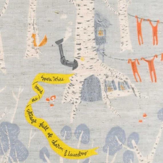 Fall Sale - Snow White Fabric Heather Ross Far Far Away 3 Sale Kokka Fabric in Blue - 1 Yard