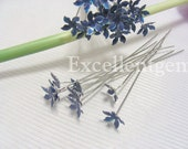 Cloisonne Earwitre 6 - 10 pcs Silver Plated with Cloisonne Flower Earwire in blue color