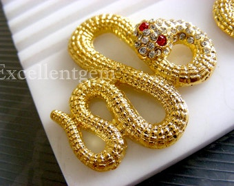 Snake connector, 5pcs Gold plated with Crystal rhinestonea connector-38mmx34mm