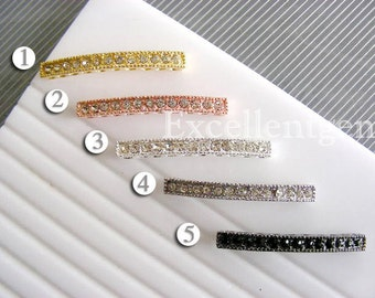 10pcs High quality curved side ways Crystal Rhinestones Bracelet Connector in 5 colors