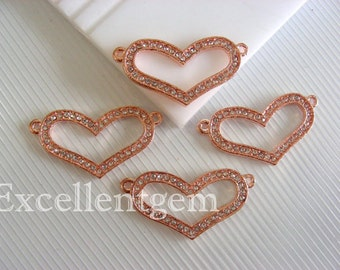 5pcs High quality rose gold tone with white Cyrstal Rhinestones connpinkector in heart shape