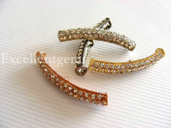 Rhinestone connector, Curved bracelet connector, rhinestone side ways connector, silver rhinestone connector, gold plated connector
