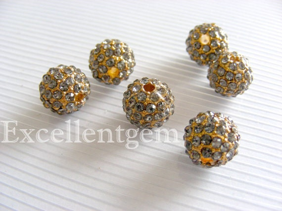 3pcs New Gold tone with deep gray color Crystal rhinestones Connector beads in 10mm