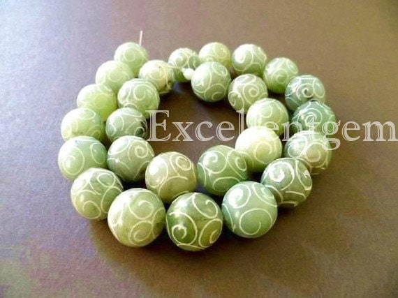 Full strand Hand-carve nature jade bead in green color-15mm