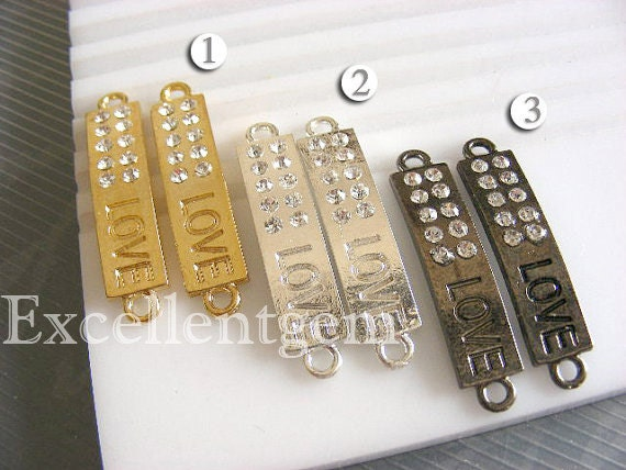 Clearance 35% off, 5-10pcs Bulk Price,metal curved,sideways rhinestone bracelet connector in mix colors,