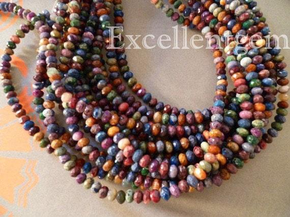 90pcs--Full strand Natural Jasper roundel beads in multicolor- 6x4mm--ST-014