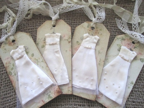 Shabby Bridesmaid Gift Tags - Set of 4 - Vintage Wedding - Country Wedding - Shabby Chic