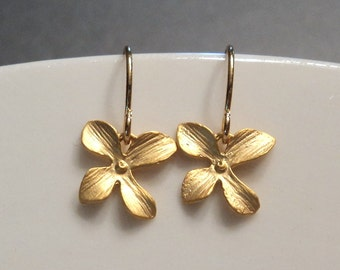Gold orchid flower earrings.  Little sweet dangles on french wires.  Everyday. Bridal.  Flower Girl.  Gift for her.