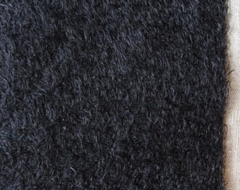 9 x 22 Black Mohair Fabric Square  Ultra Sparse  cheswickcompany