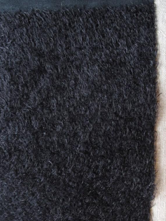 9 x 11 Black Mohair Fabric Square  Ultra Sparse  cheswickcompany