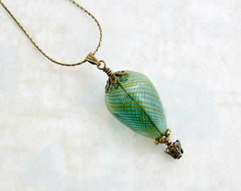 Green Hot Air Balloon Necklace - antique brass & green blown glass bead - Steampunk Hot Air Balloon Jewelry