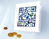 Hanukkah Card - Happy Hanukkah or Personalized Message - QR Code - Custom holiday card - Blue and Gold