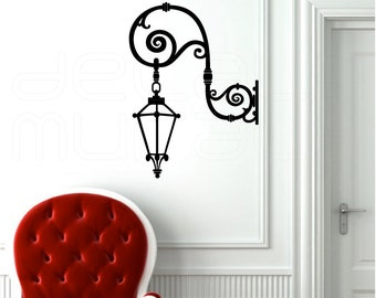 Wall decal HANGING STREET LAMP Vinyl art stickers decor for walls by Decals Murals (16x22)