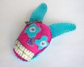 Rabbit skull brooch Halloween calavera Day of the death