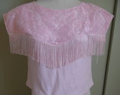 Vintage Pink Fringed Lace Cowgirl Shirt Cap Sleeve Calabasas Clothing Company Medium