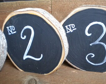 8 Wood Chalkboard Table Numbers