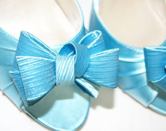 Blue Wedding Shoes - Big Bows - Peep Toe Shoes - Blue Bridal Shoes - Over 200 Shoe Colors - Choose Your Heel Height - Dyeable Wedding Shoes