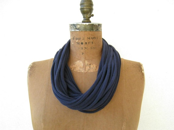 Scarf Necklace T-Shirt Necklace Womens Scarves Navy Blue Fashion Necklace Cotton Necklace Gift for Her by ohzie