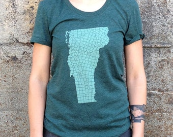 Women's VT Towns T-shirt, American Apparel Heather Forest Green Ladies Vermont Tee