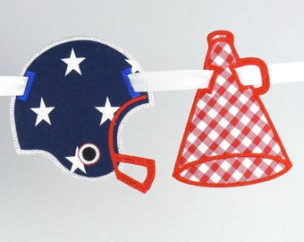 Football Banner Add-ons Megaphone and Football Helmet ITH Project Applique Machine Embroidery Design Patterns all done in the hoop