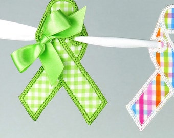 """Awareness Ribbon Banner In The Hoop Project Machine Embroidery Design Pattern 5 sizes 4"""", 5"""", 6"""", 7"""" and 8"""" all done In-The-Hoop"""