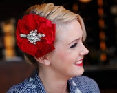 The RUBY - red headpiece, red fascinator, black veiling, red hat
