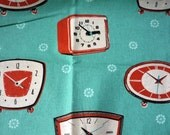 Destash Melody Miller Ruby Star Shining Clocks in Aqua Fat Quarter FQ