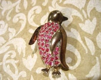 Vintage Penguin Pin or Brooch w Pink Rhinestones