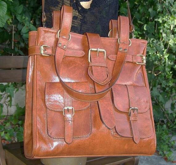 """Reserved listing for leeleegirl  CARAMEL LEATHER TOTE--- Handbag, Shoulder, Cross-body Bag Orea fits a 13"""" laptop"""