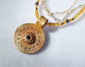 Gold multi strand necklace Bronze medallion pendant Wearable art necklace Citrine One of a kind art jewelry