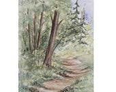 SALE Original Watercolor Landscape Painting Trail Nature Art Landscape Forest Northwest Hiking