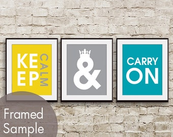 Keep Calm and Carry On - Set of 3 - Art Prints (Set of 3) (Featured in Canary, Dolphin, Oceanic Blue)