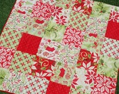 Moda. Couture Stroller/ Pram Quilt. 12 Days of Christmas by Kate Spain. QUILTED 30x30 Fleece Back. Great for Boy or Girl.