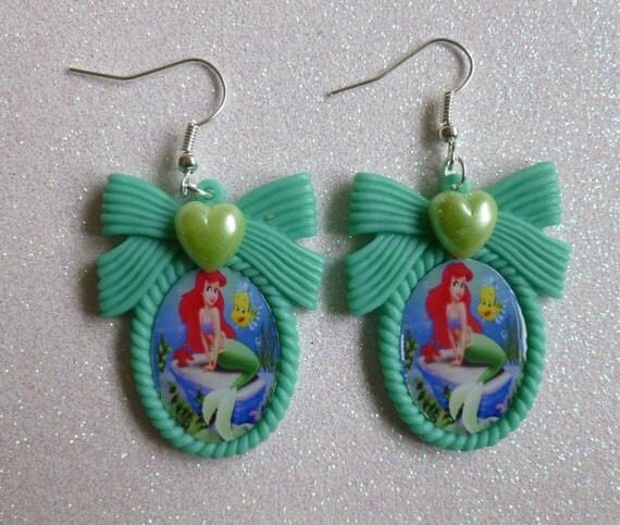 mermaid ariel disney cameo earrings by