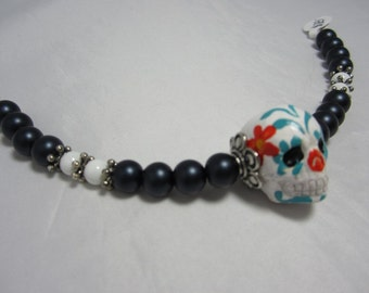 Hand Painted Day of the Dead Bracelet