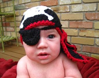 CROCHET PATTERN - hat, baby pirate hat, hat, bandana, eye patch PDF,  pattern all sizes