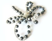 Black Pearl Sterling Dragonfly Hair Clip, Brooch or Bouquet Decoration - Tagt