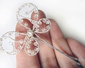 Crystal Wedding Butterfly - Swarovski Crystal Ornate Hair Pin, Clip or Bouquet Decoration - ButterflyJewelry -Tagt