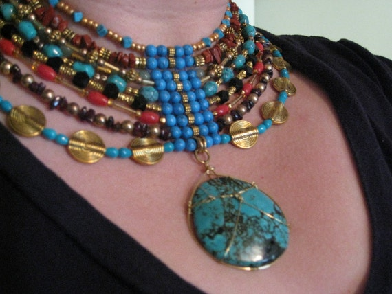 Egyptian Collar with Turquoise Wrapped Pendant